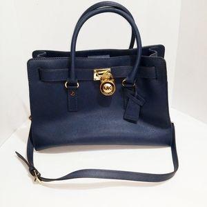 Michael Kors Hamilton Large Navy Blue Handbag